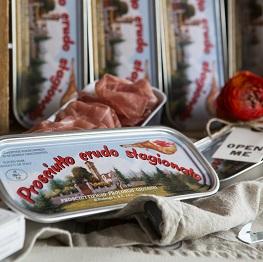 Scatola di latta di prosciutto di San Daniele Prolongo affettato